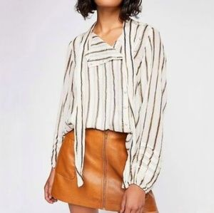 NWT Free People Stripe Tie Neck Button Blouse